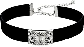 Kenneth Jay Lane Black Velvet with Silver/Crystal Deco Choker Necklace, 12