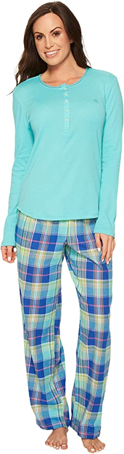 LAUREN Ralph Lauren - Long Sleeve Henley Long Pants Pajama Set