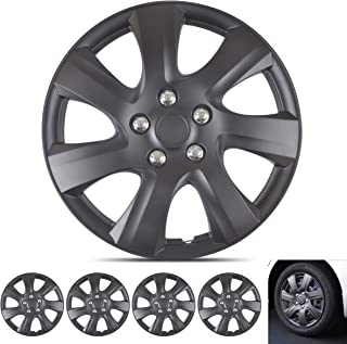 "Wheel Guards – (4 Pack) Hubcaps for Car Accessories Wheel Covers Snap Clip-On Auto Tire Rim Replacement for 16 inch Wheels 16"" Hub Caps (Matte Black 1021)"