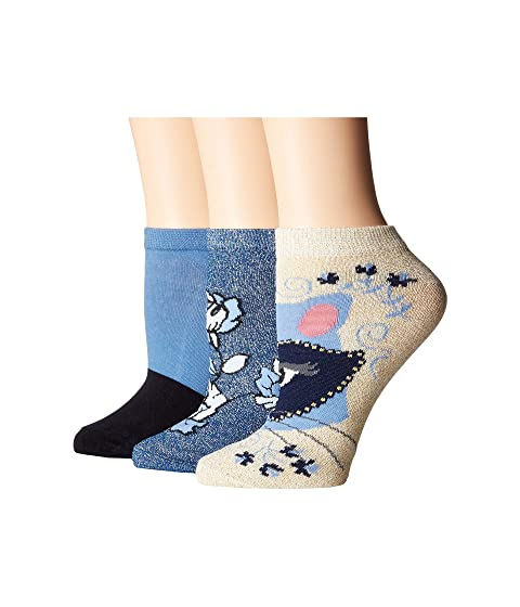 Kate Spade New York Raccoon Patch 3-Pack No Show Socks