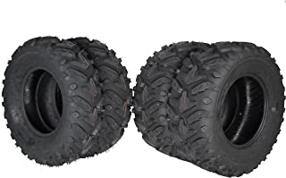 MASSFX Grinder Series ATV Dual Compound Tread Mud Sand Snow and Rock Tires (Four Pack Two Front 25x8-12 Two Rear 25x10-12)