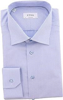 Men's Light Blue Contemporary Fit Dots Shirt Dress -...
