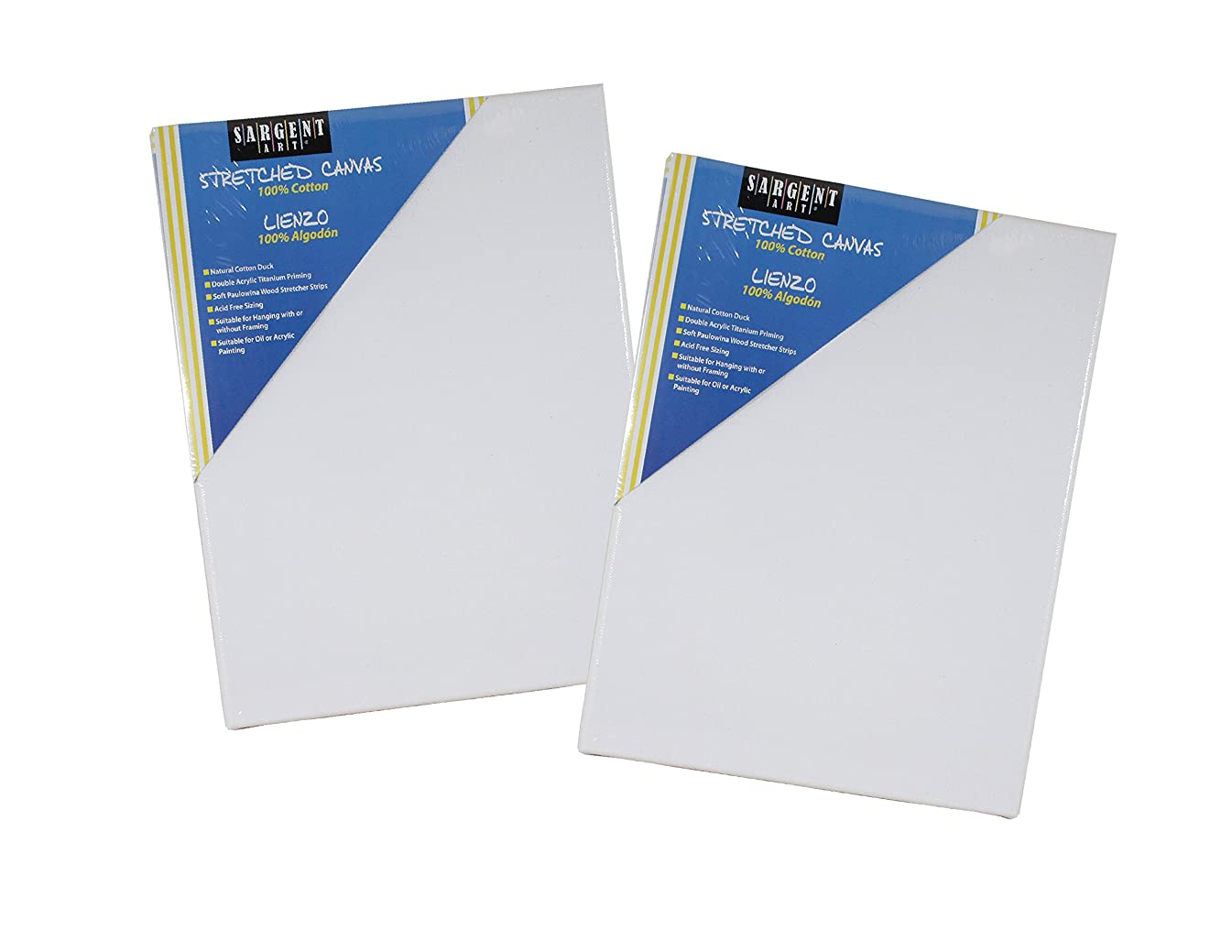 Sargent Art Value Pack 18 x 24 Inch Stretched Canvas Pack of 2, 2 Piece