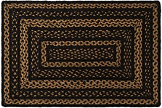 VHC Brands Classic Country Primitive Flooring - Farmhouse Jute Black Rug, 20x30, Plain