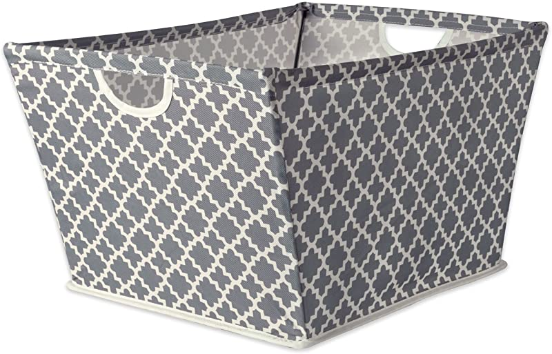 DII Collapsible Polyester Trapezoid Storage Basket Home Organizational Solution For Office Bedroom Closet Toys Medium 16x12x10 Gray Lattice