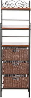 Manilla Bakers Rack - 3 Drawer w/ Woven Baskets - Wood w/ Black Metal Frame