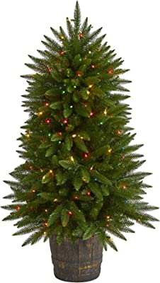 Nearly Natural 5ft. Sierra Fir Artificial Christmas Tree with 200 Multicolored Lights and 428 Bendable Branches in Decorative Container, Green