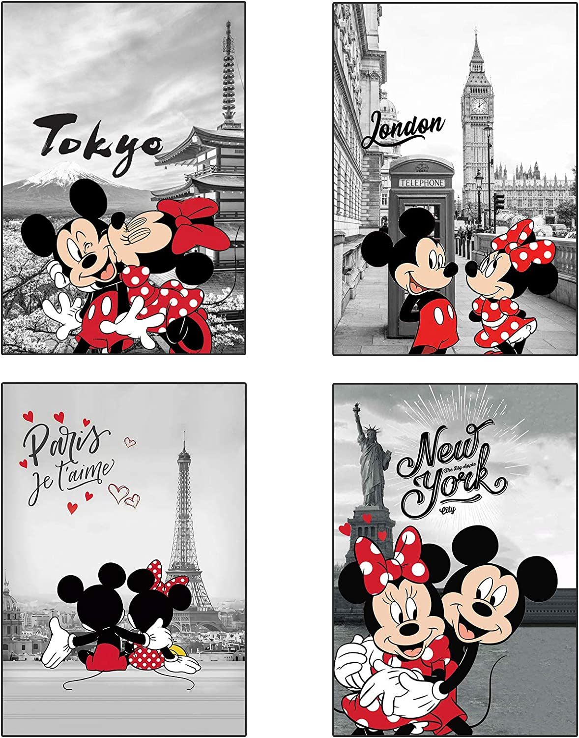 Mic-key Mouse Poster Cute Wall Decor Set of 4 Wall Art for Boy's Girl's Room -11.4