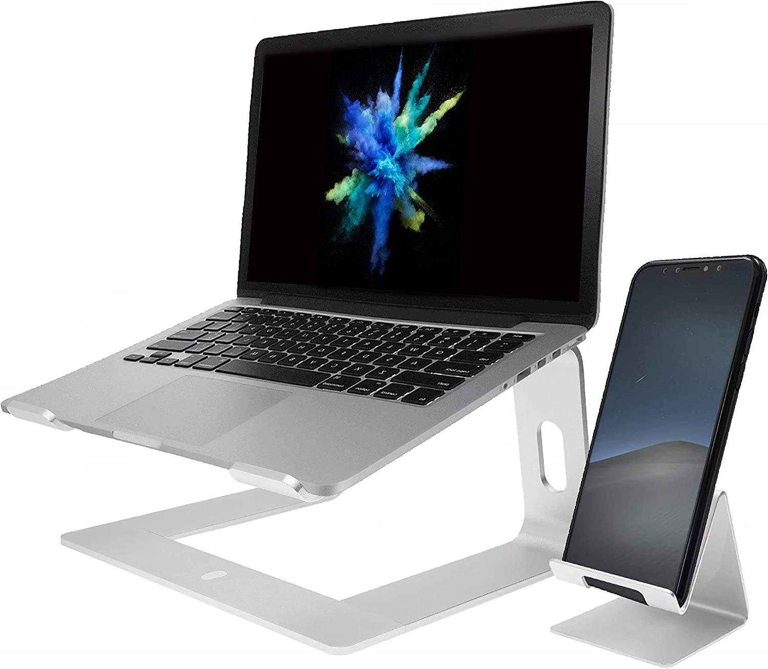 StepUp 2in1 Laptop Stand for Desk and Phone Holder, Docking Ergonomic Aluminum Elevated Stands, Portable Computer Riser, Fits All Raised Devices-Cell Phone, ipad, Notebook, MacBook Pro 10
