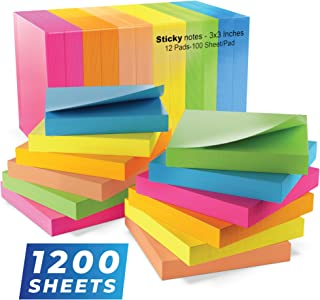 Sticky Notes 3x3, Bright Colorful Stickies, 12 Pads 1200 Sheets Total, Strong Self-Stick Notes, 6 Colors (Yellow, Green, B...