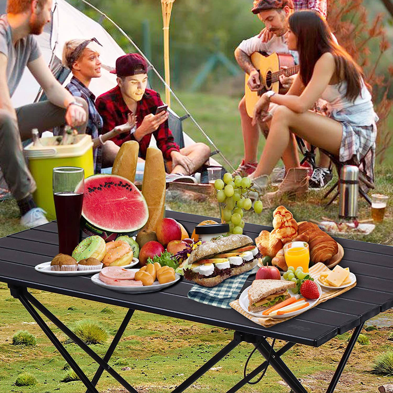 Fishing 68 X 46 X 40cm Beach Hiking Picnic Camping Ideal for Outdoor Ultralight Folding Table with Aluminum Table Top and Carry Bag Cooking RISEPRO Portable Camping Table Easy to Carry