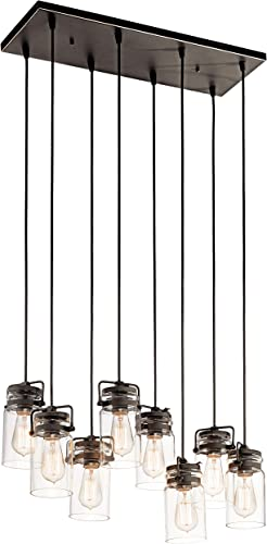 high quality Kichler wholesale 42890OZ 2021 Brinley Linear Chandelier 8-Light, Olde Bronze sale