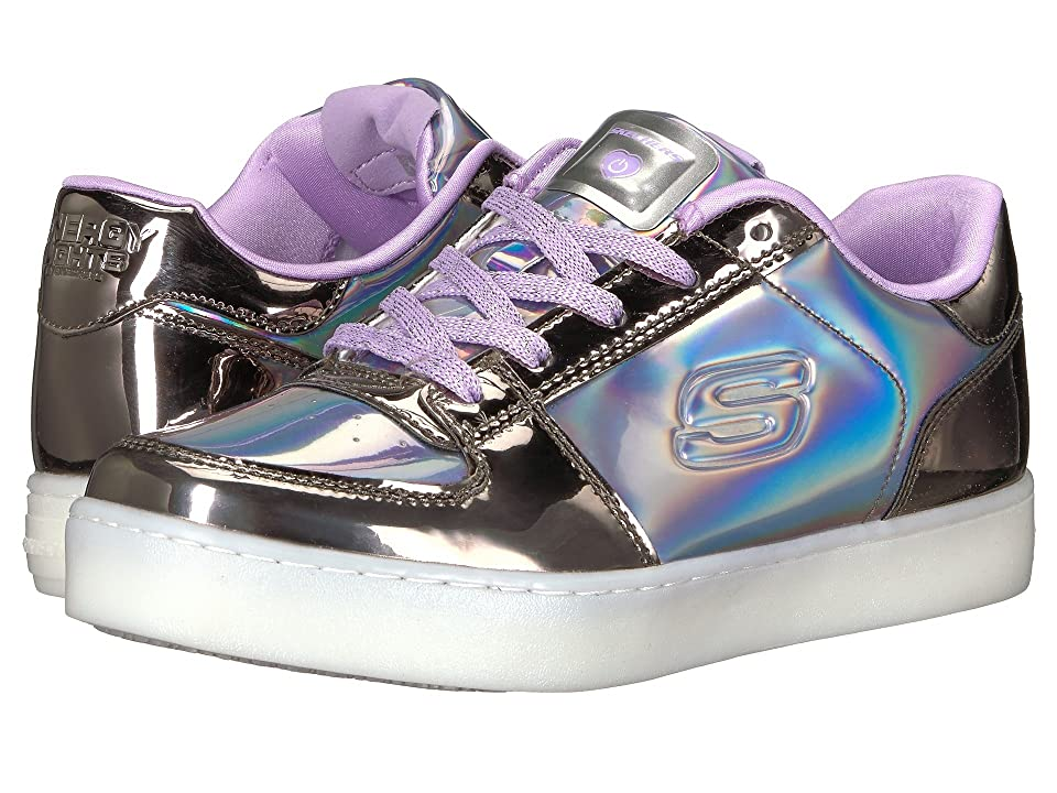 SKECHERS KIDS Energy 10947L Lights (Little Kid/Big Kid) (Gunmetal/Purple) Girl