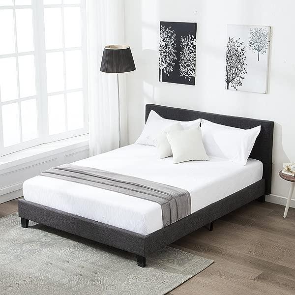 Mecor Upholstered Linen Full Platform Bed Metal Frame With Solid Wood Slats Support Square Stitched Headboard Black Full Size