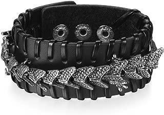 Retro Lederarmband Männer Punk Armband Handmade Brown Lederarmband HJ