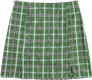 Women's Basic High Waist Summer Split Bodycon Mini Plaid Skirt Green L