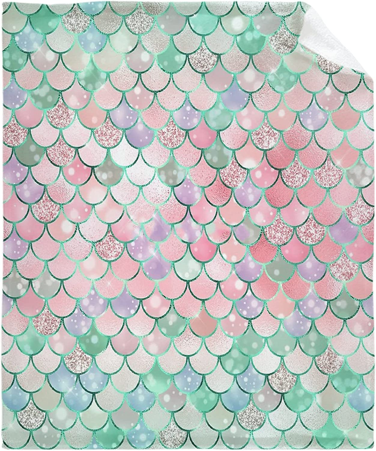 ZHONGKUI Green and Special price for a limited time Pink Pastel Sup Low price Flannel Throw Blanket Mermaid