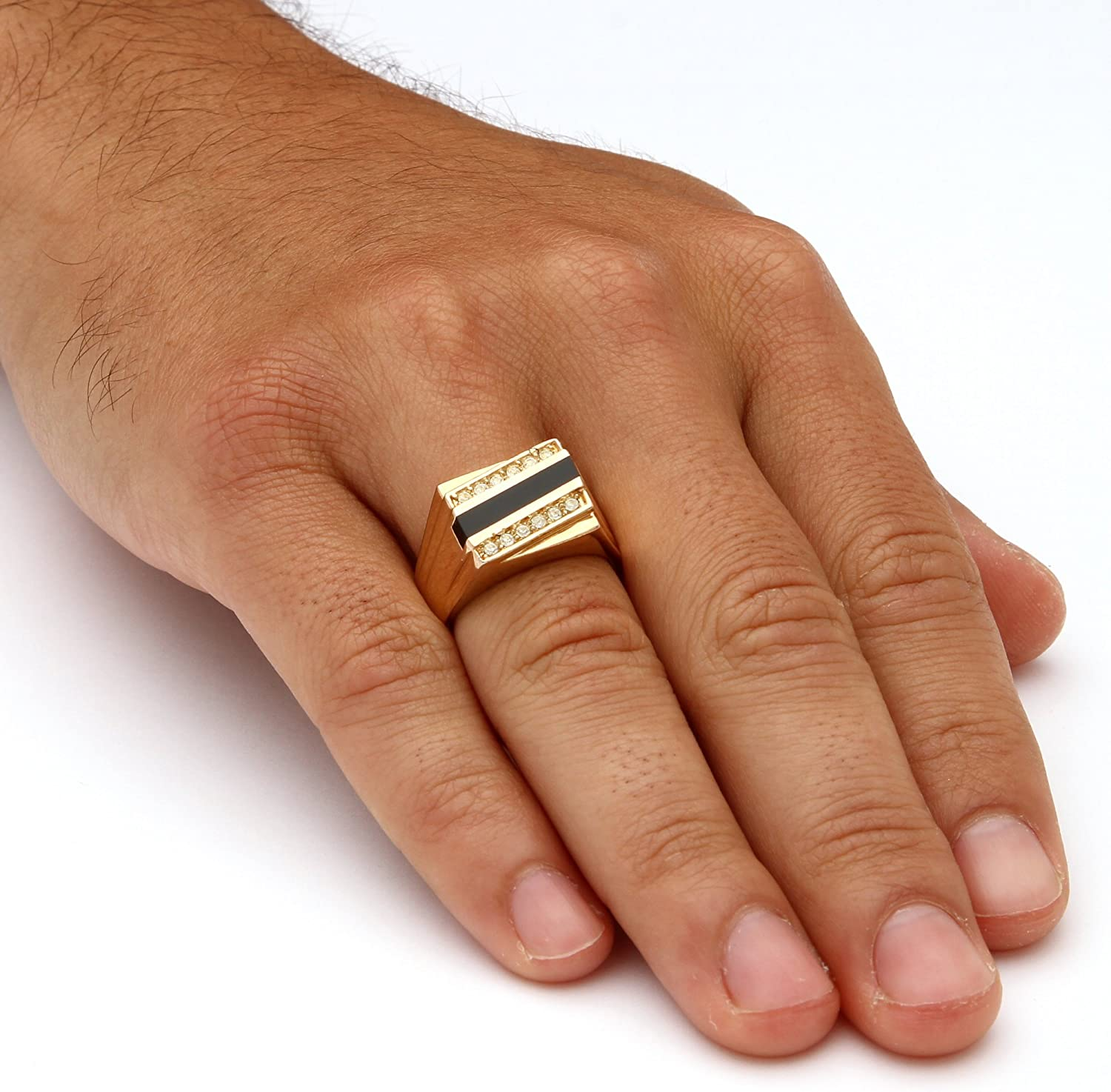 Palm Beach Jewelry Men's Gold-Plated Emerald Cut Natural Black Onyx and Round Crystal Ring