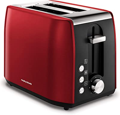 Morphy Richards 222060 Stainless Steel Toaster, Red 2 Slice