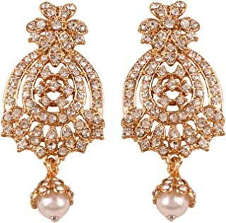 Indian Bollywood Ethnic And Classy Heavy Designer Jewelry Long Chandelier Earrings Embellished With Faux Ruby For Women In Antique Gold Tone.