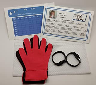 Stop Thumb Sucking with Thumb Glove - Full Glove Pair with Belts Plus - Free Reward Chart and Laundry Bag (Red, Large)
