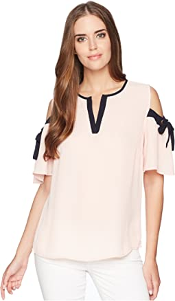 Georgette Cold Shoulder Contrast Piping with Tie Sleeve