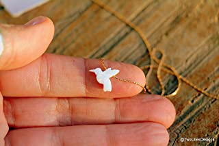Opal Necklace, White Dove Opal Necklace, White Bird Opal Jewelry, Hummingbird Necklace, Silver Gold Rose Gold Necklace, Dainty Minimalist Opal Stone Pendant, Animal Charm Necklace, October Birthstone