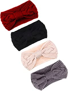 4 Pieces Cable Knit Headband Crochet Headbands Plain Braided Head Wrap Winter Ear Warmer for Women Girls