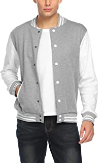 Mens Slim Fit Varsity Baseball Jacket Bomber Cotton Premium Jackets