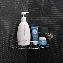 HOKIPO Magic Sticker Stainless Steel Bathroom Corner Shower Caddy(Silver, Standard)