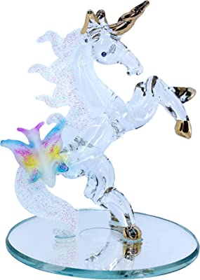 Unicorn Glass Art with Butterfly for Décor, Gift