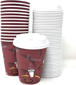 SOLO Bistro 12 Ounce Cups and White Traveler Lids. Pack 80 Sets