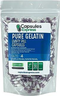 Capsules Express- Size 4 Purple Pearl and White Pearl Empty Gelatin Capsules - Kosher Pure Gelatin Pill Capsule - DIY Powd...