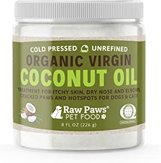 Raw Paws Organic Coconut Oil for Dogs & Cats, 8-oz - Treatment for Itchy Skin, Dry Nose, Paws, Elbows, Hot Spot Lotion for...