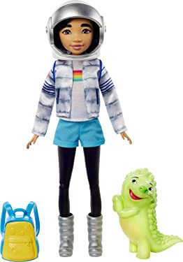 Netflix Over The Moon, Fei Fei Doll (9-inch) in Space Explorer Outfit, Includes Glow-in-Dark Gobi Figure (3-inch), Removable Outfit with Cool Pieces Like Moon Boots, Jacket and Astronaut Helmet