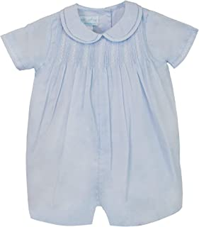 Petit Ami Baby Boys` Romper with Pintucks and Feather Stitching