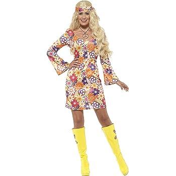 Smiffys 45520X1 - Damen Blumen Hippie Kostüm, Kleid, Haarband und Medaillon, Größe: 48-50, mehrfarbig