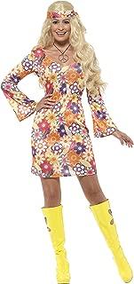 Ladies 60's Flower Hippie Fancy Dress Costume