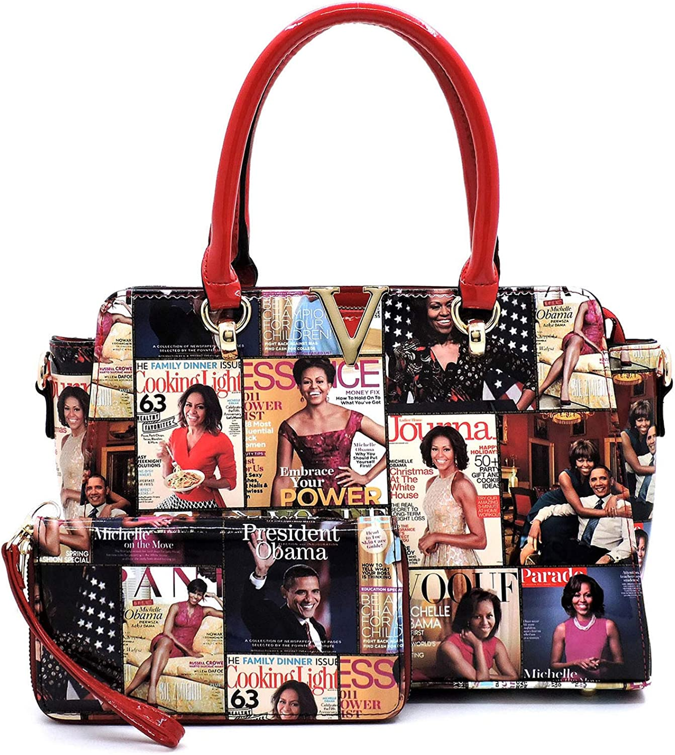 unisex Glossy Magazine Cover Collage 2021 model Michelle Printed Hand Obama Double