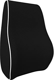 bonmedico Orthopedic Lumbar Support Pillow, Back Cushion with Memory Foam, Posture Corrector for Back Support and Back Pain Relief, Ergonomic for Car Seat, Home, Office-Chair, Black, Small