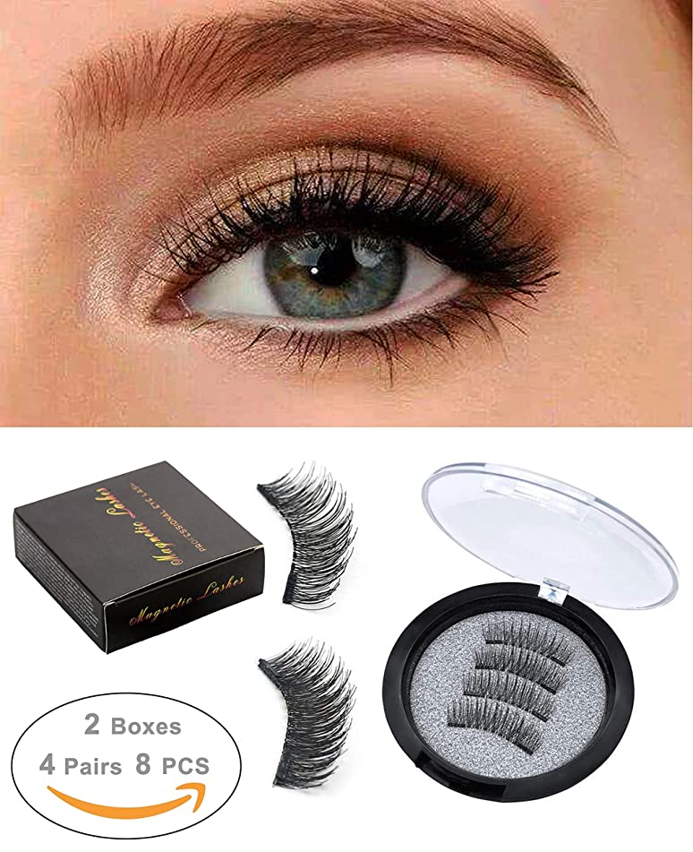 ROWNYEON Magnetic Eyelashes Dual Magnetic False Eyelashes - Ultra Thin 3D Fiber Reusable Best Fake Lashes Extension for Natural, Perfect for Round Eyes & Deep Set Eyes (2 Pairs,8Pieces)…