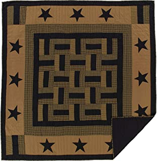 VHC Brands Classic Country Primitive Bedding - Delaware Black Quilt, Queen