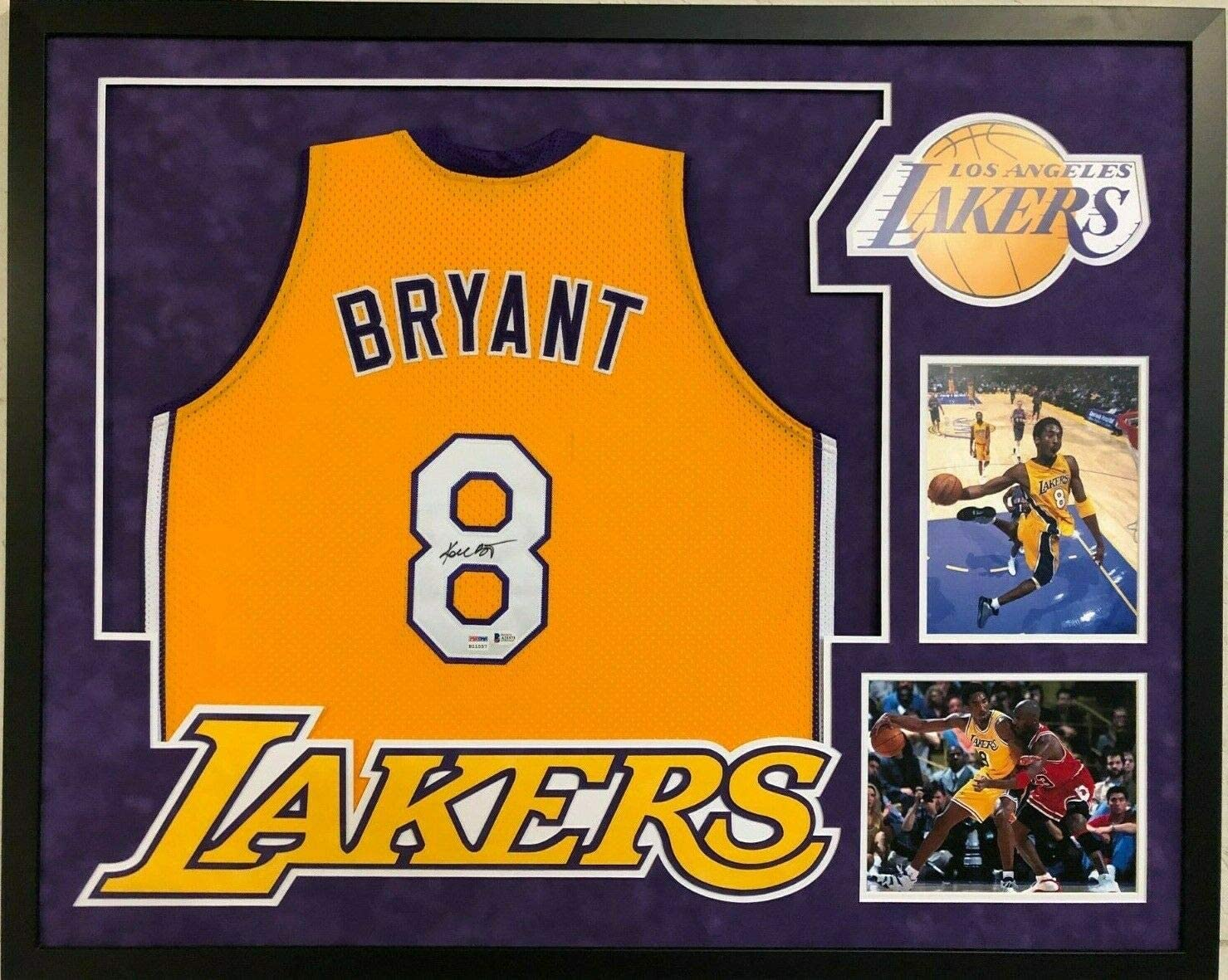 FRAMED L.A. LAKERS KOBE BRYANT AUTOGRAPHED SIGNED JERSEY BECKETT ...