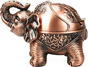 LAUYOO Vintage Decorative Ashtray with Lid for Cigarettes Metal Windproof Smoking Ash tray Holder for Indoors Outdoors Smokers Stand Lucky Elephant Nice Gift for Men Women (Red Copper)