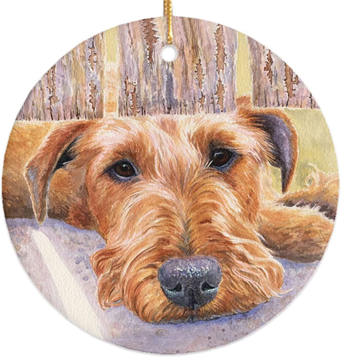 Irish Terrier Ceramic Ornament in A Gift Box by MICHAEL STEDDUM (Watching & Waiting) Awesome Irish Terrier