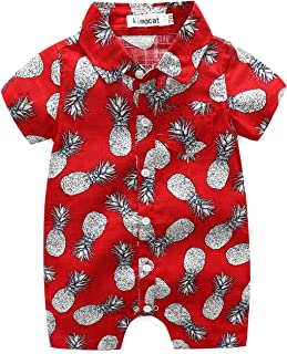 Baby Hawaii Onesies Newborn Button-Down Casual Print Shirt Romper Outfits