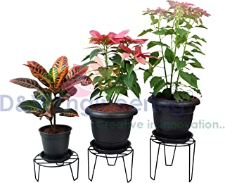 D&V Engineering-Iron Indoor/Outdoor Flower Pot/Plant Stand for Home Garden or Balcony décor (Black-Set of 3)