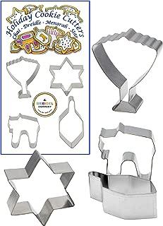 Chanukah Cookie Cutters - Hanukkah Cookie Cutters - Menorah Shape - Dreidel Shape - Candle Shape - Gift Box Shape