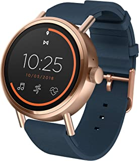 Misfit Vapor 2 Stainless Steel and Silicone-Backed Leather Touchscreen Smartwatch Color: Rose Gold Blue (MIS7101)