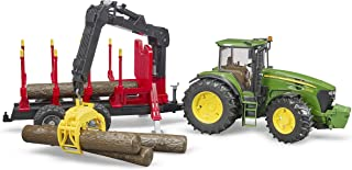 Bruder 09821 John Deere 7930 Forestry and Farm Tractor with Logging Trailer, Articulated Crane Arm and 4 Tree Trunks